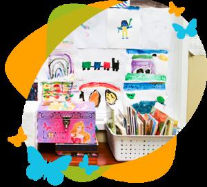 Child artwork display at Nicole Gerami language therapy center
