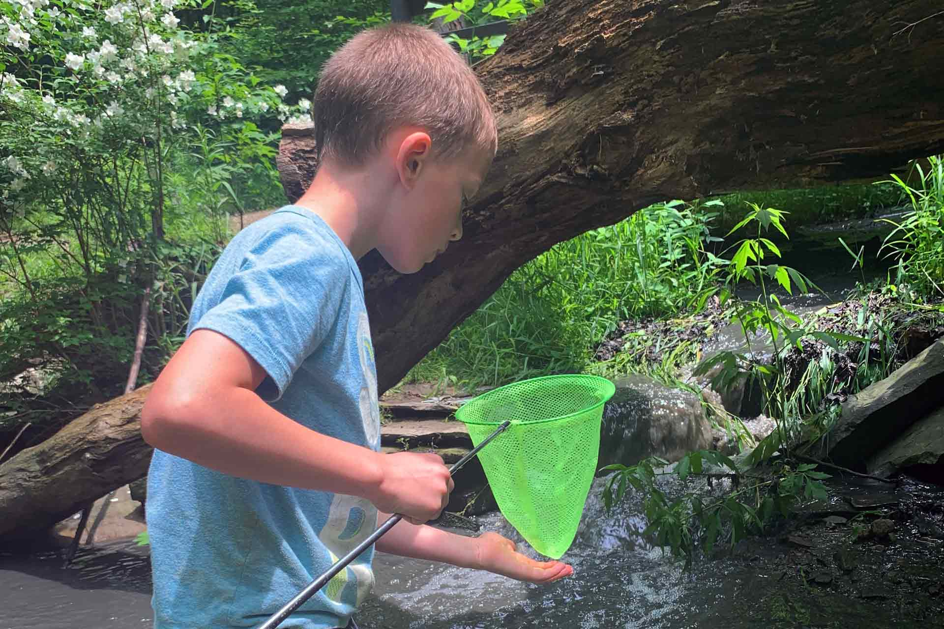 boy playing in creek